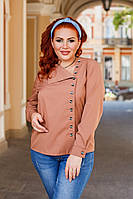 Женская стильная рубашка №41327 (р.42-56) капучино, фото 1