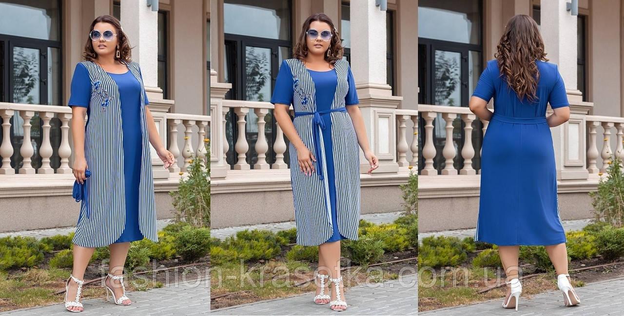 Модное женское платье с аппликацией,ткань:масло трикотаж.