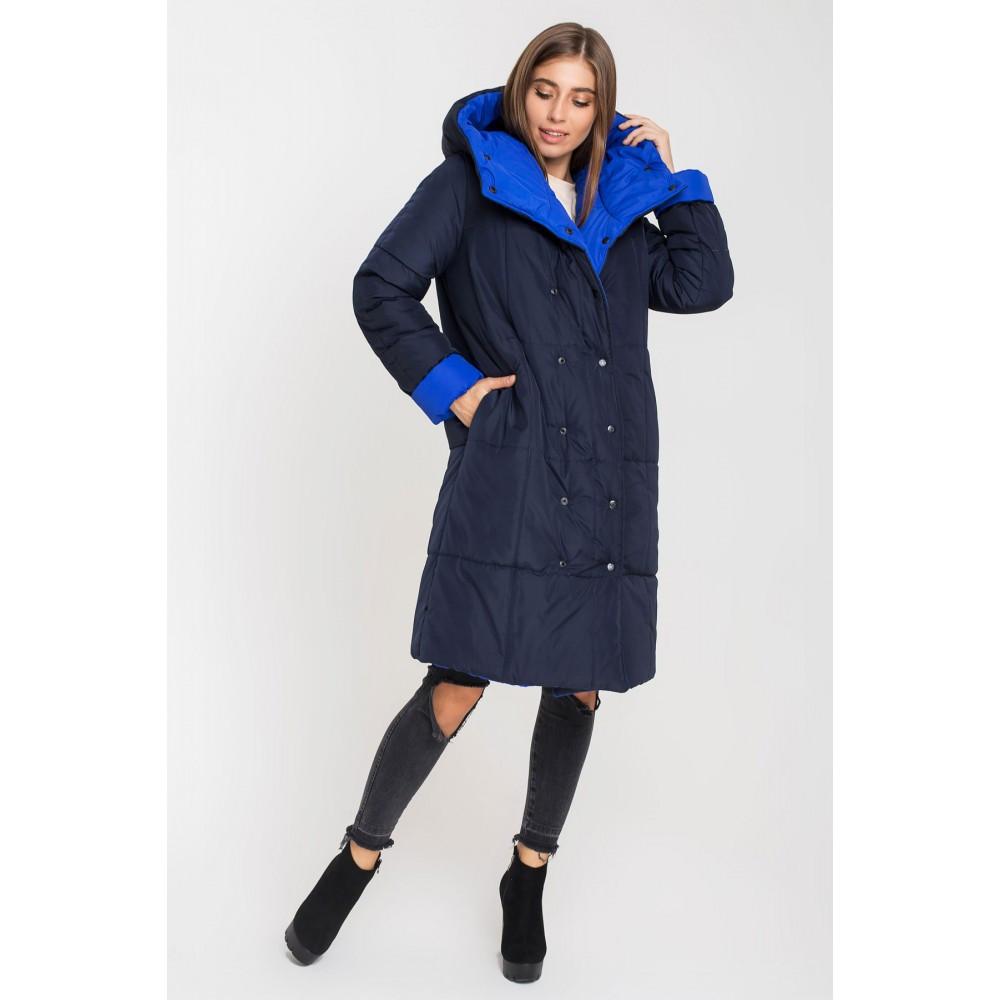 / Размер 44,46,48,50,52,54 / Женская зимняя двусторонняя курткаДжени (синий/электрик)