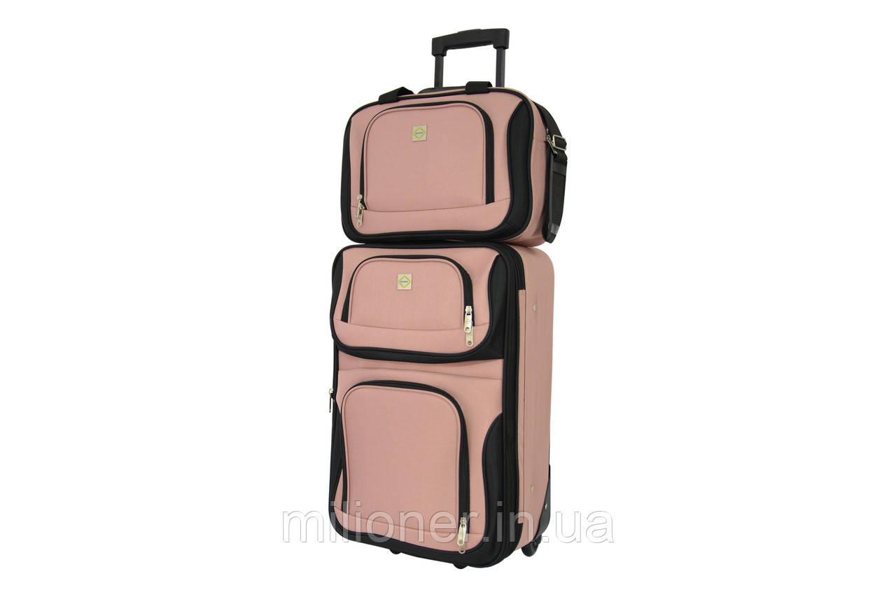 Комплект чемодан + сумка  Bonro Best небольшой розовый