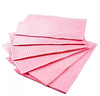 Нагрудники стоматологические трехслойные текстурированные салфетки 10шт (розовые)