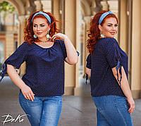 Женская стильная блузка №41322 (р.42-56) синий, фото 1