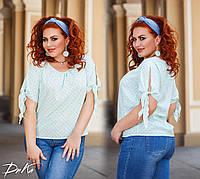 Женская стильная блузка №41322 (р.42-56) ментол, фото 1