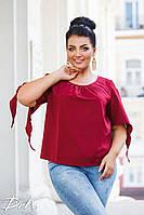 Женская стильная блузка №41322 (р.42-56) бордо, фото 1