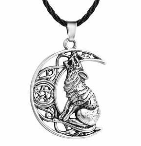 Кулон волчий месяц с пентаграммой серебро