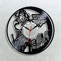 Часы Удивительная Женщина Wonder Woman Часы виниловые Часы настенные виниловые Тихие настенные часы 30 см