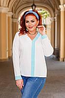 Женская стильная блузка №41324 (р.42-56) белый+ментол, фото 1