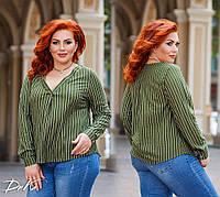 Женская стильная блузка №ат41330.1 (р.42-56) оливка полоска, фото 1