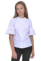 Блузка для девочек белая с коротким рукавом школьная м 1143  рост от 122 до 170