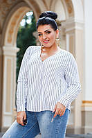 Женская стильная блузка №ат41330.1 (р.42-56) белый полоска, фото 1