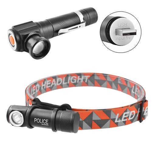 (2 в 1) Фонарь налобный, ручной Police W01-T6 USB, магнит