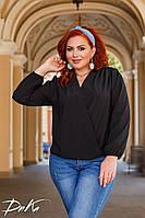 Женская стильная блузка №ат41323 (р.42-56) черный, фото 1