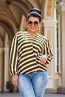 Женская стильная блузка в полоску №ат41323.1 (р.42-56) оливка, фото 1