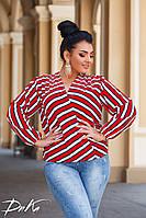 Женская стильная блузка в полоску №ат41323.1 (р.42-56) красный, фото 1