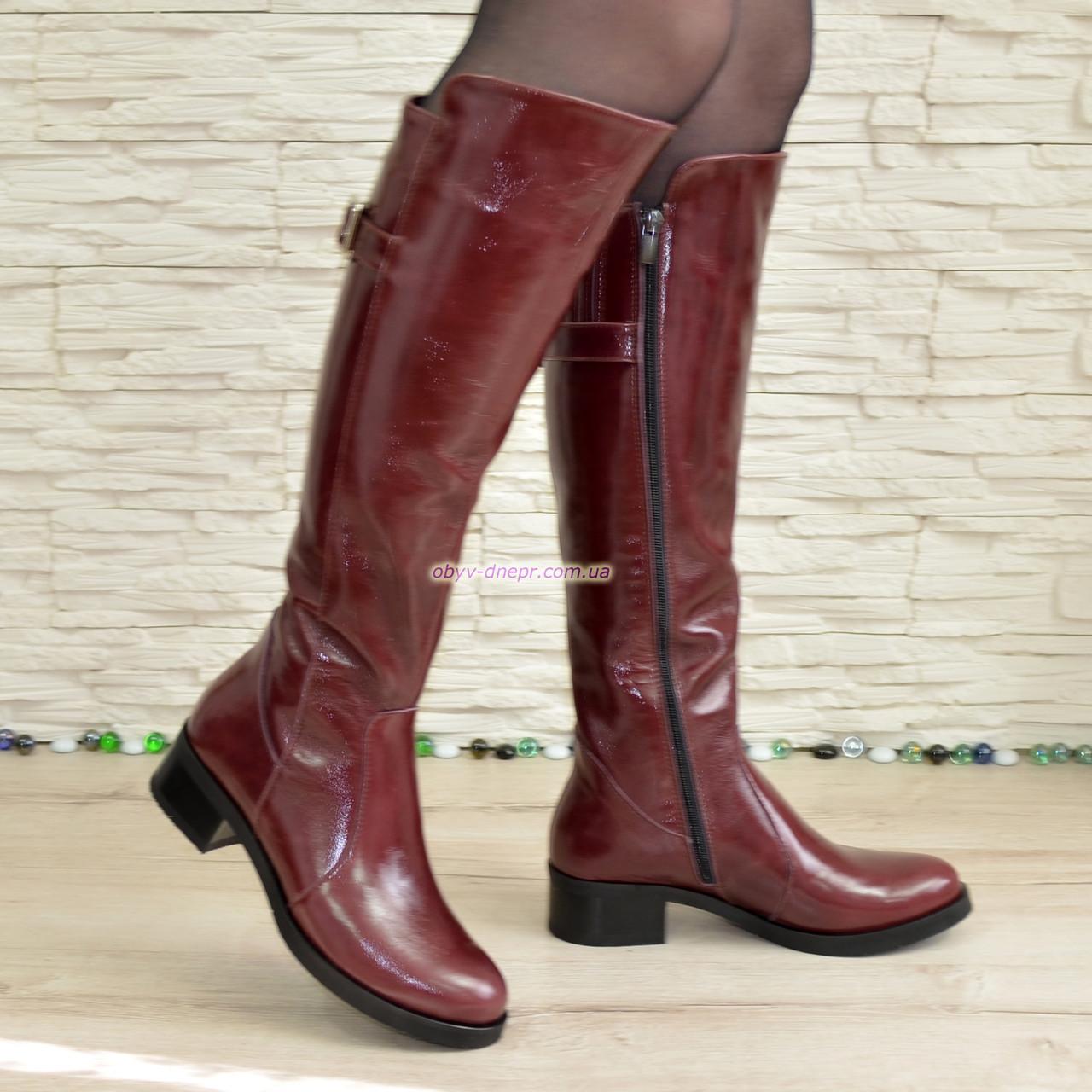 Сапоги женские зимние кожаные на невысоком устойчивом каблуке, цвет бордо. 38 размер