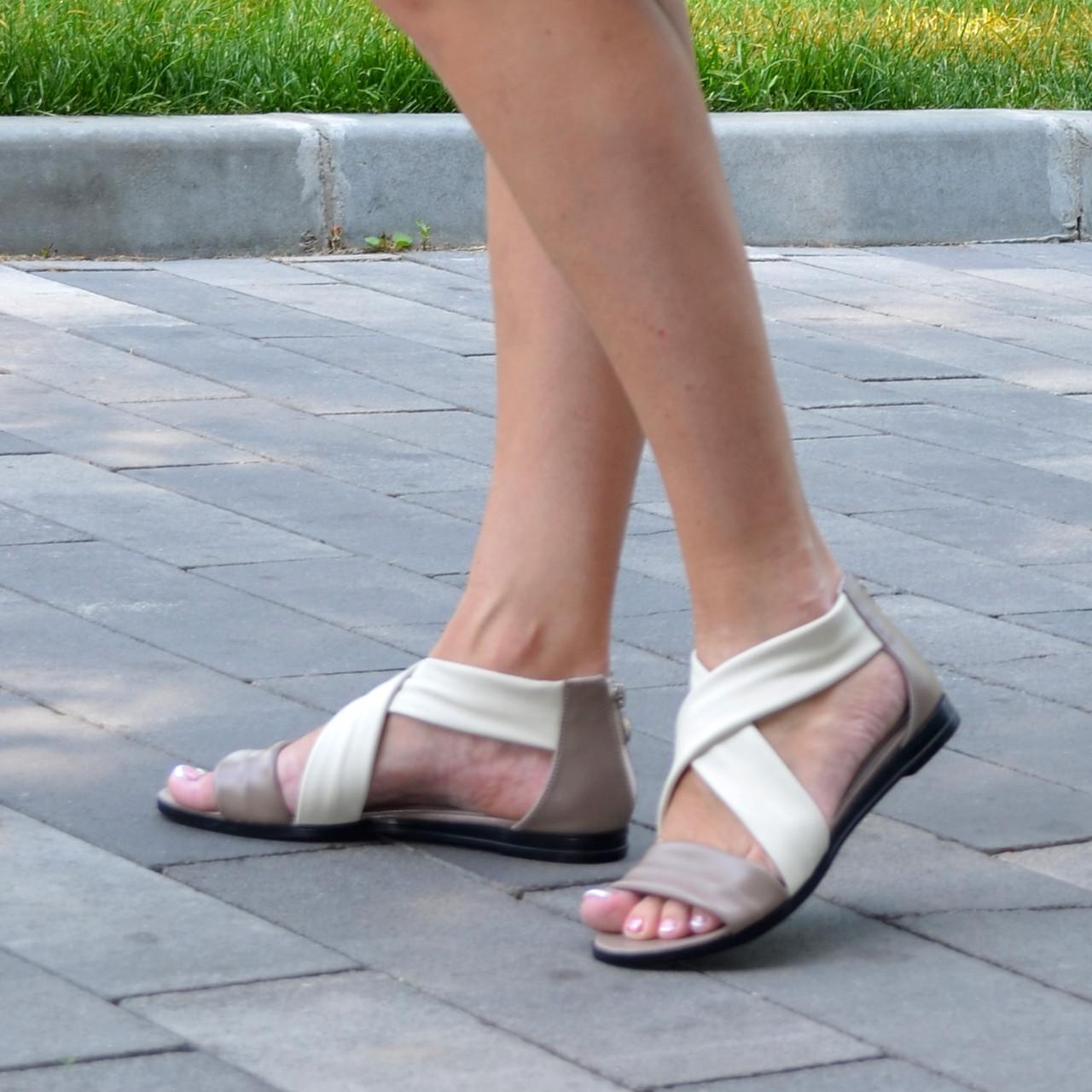 Босоножки римлянки женские кожаные, цвет визон/бежевая кожа. 39 размер