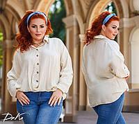 Женская стильная рубашка свободного кроя №41328 (р.42-56) айвори
