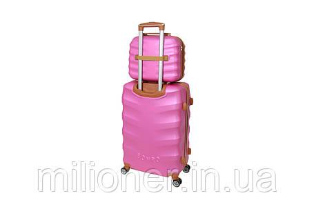 Комплект чемодан + кейс Bonro Next (большой) розовый, фото 2