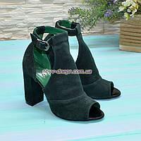 Женские замшевые босоножки на устойчивом каблуке, цвет зеленый. В наличии размеры 38