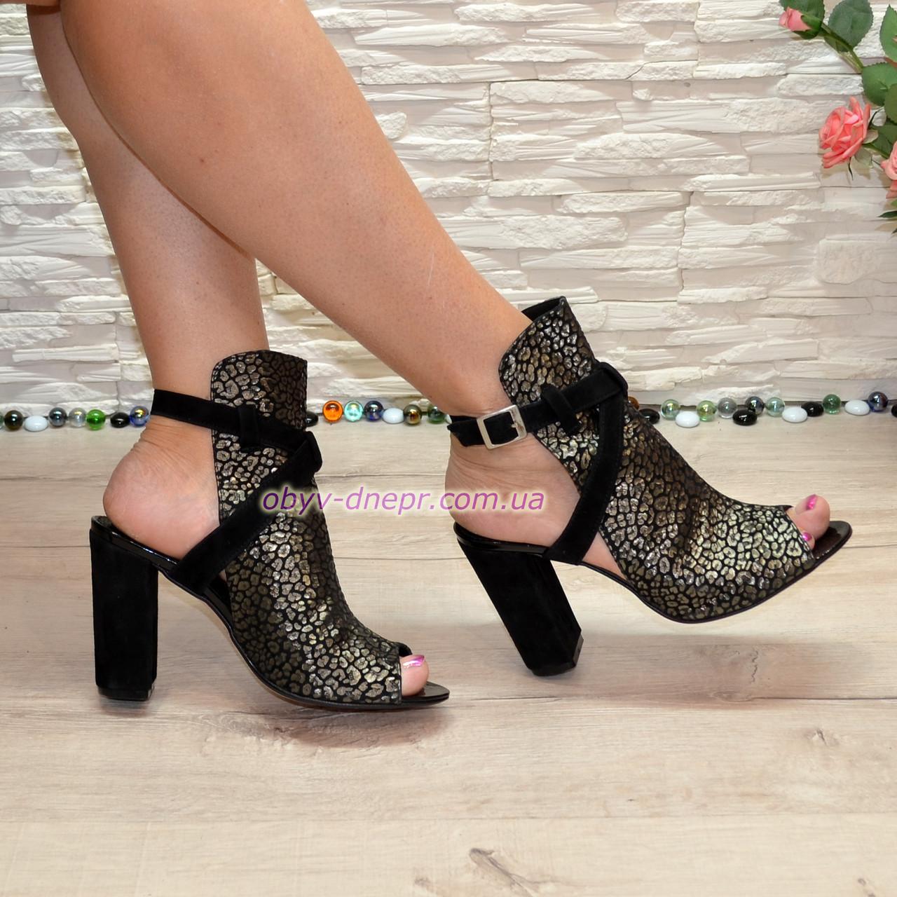 Женские замшевые босоножки на высоком устойчивом каблуке. 37 размер