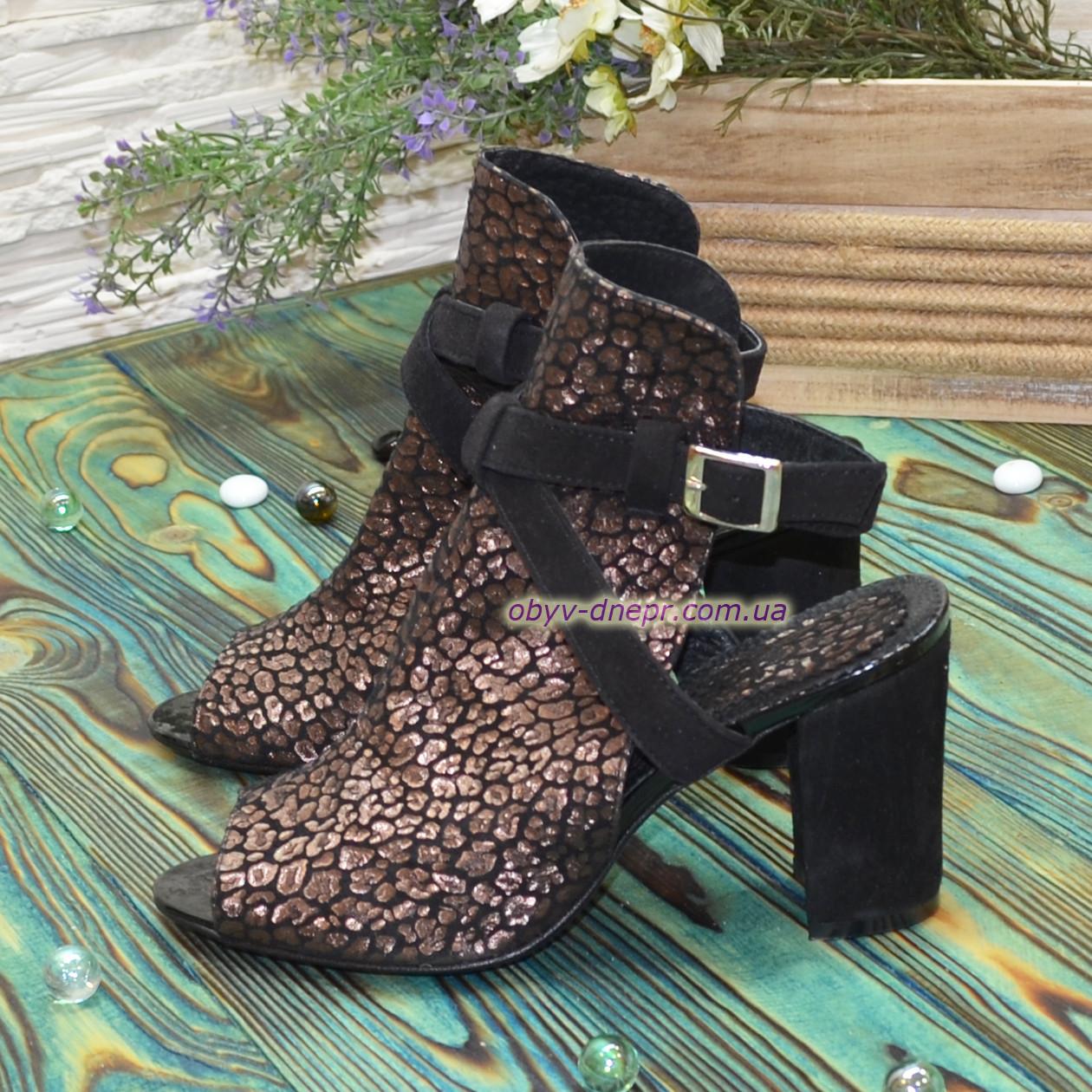 Женские босоножки на высоком устойчивом каблуке, цвет бордо/черный. 37 размер