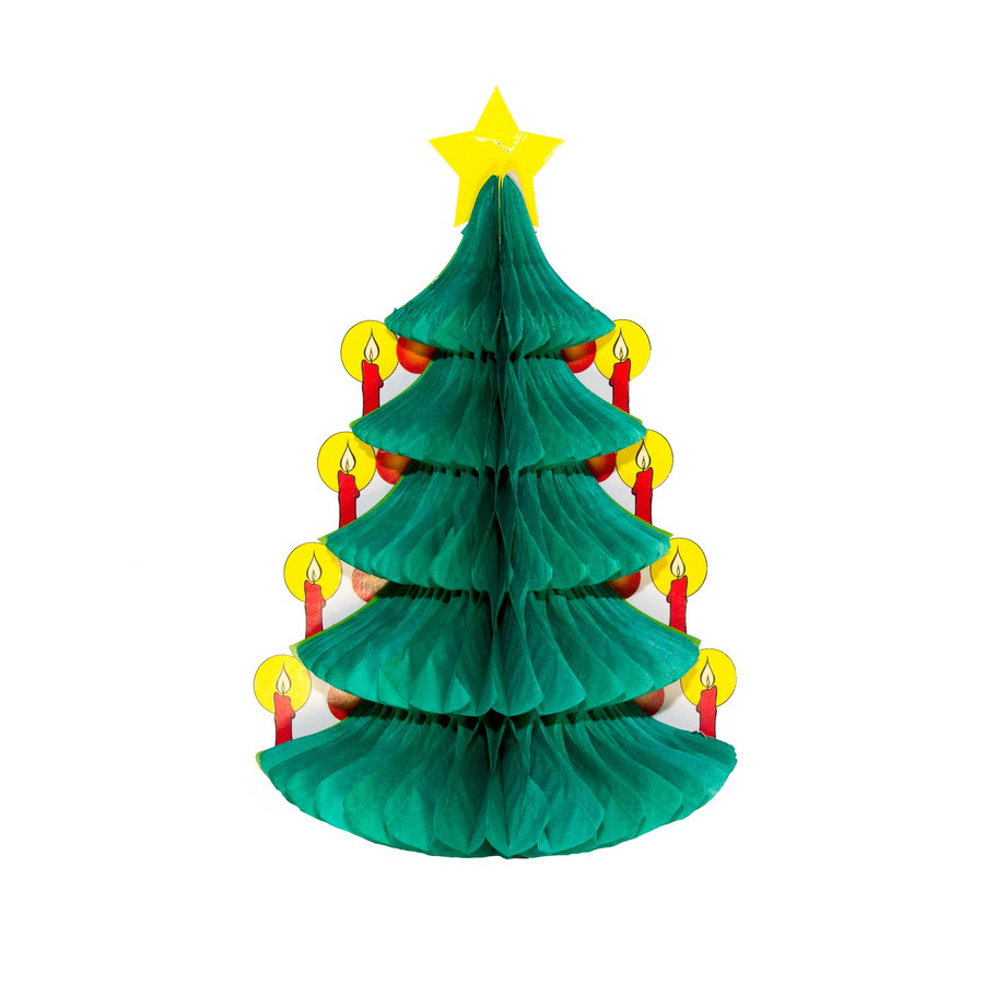 Новогоднее украшение - декорация елка, H30 см, зеленый, бумага (610136)