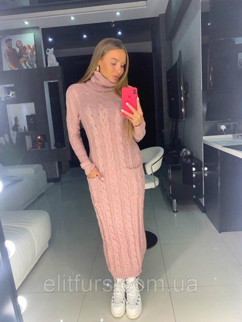 Платье вязаное стильное, по фигуре + (3 цвета)