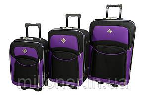 Чемодан Bonro Style набор 3 штуки черно-т. фиолетовый, фото 2