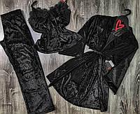Черный велюровый комплект тройка халат+майка+штаны 084-010.