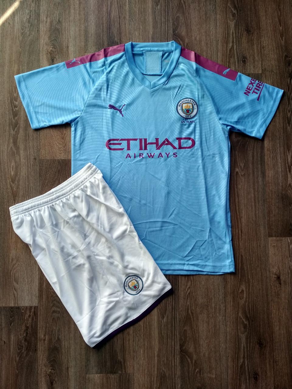 Детская футбольная форма Манчестер Сити/Manchester City ( Англия, Премьер Лига ), домашняя, сезон 2019-2020