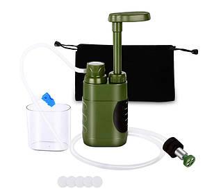 Туристический фильтр мембранный L610 для очистки воды. Портативный карбоновый фильтр зеленый.