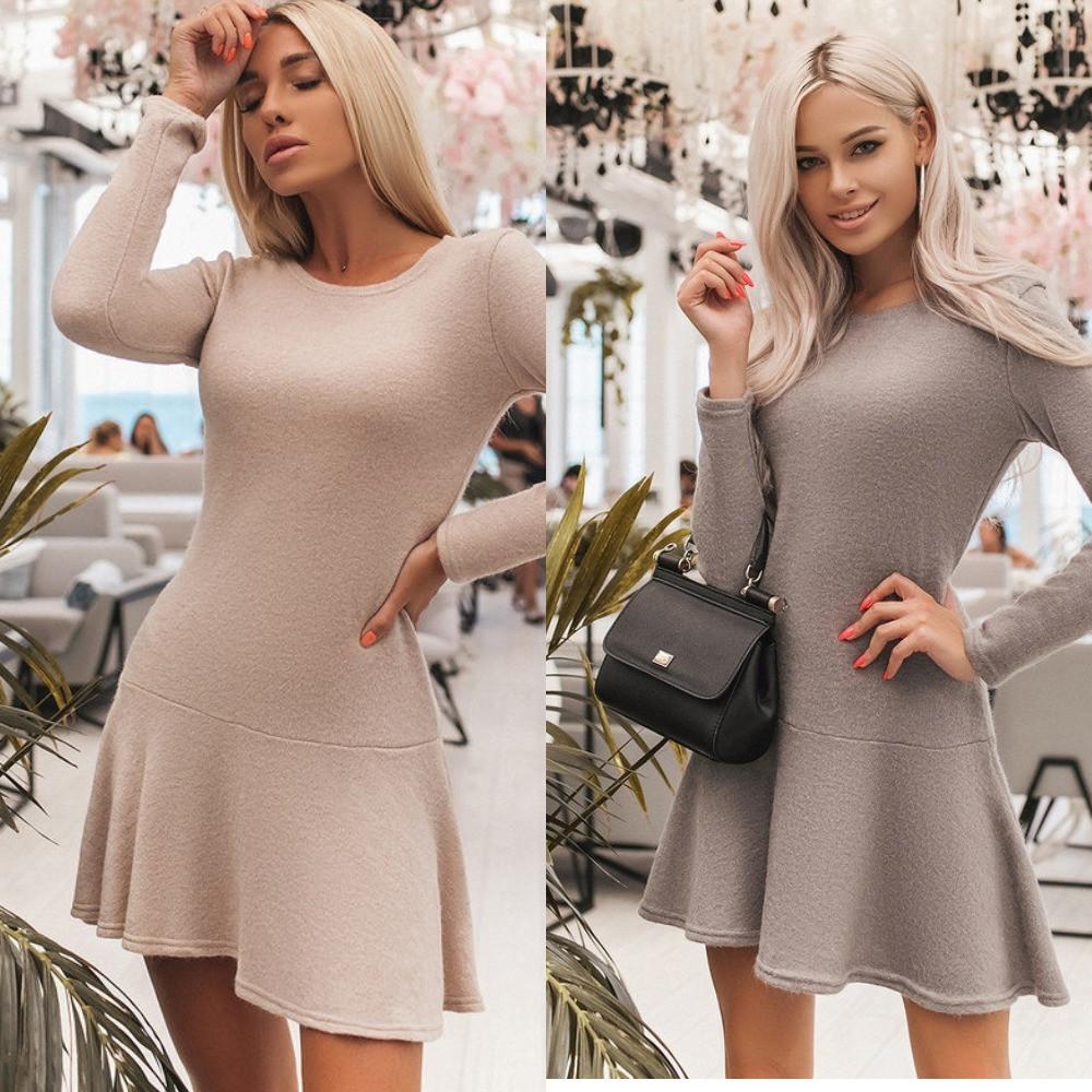 Платье повседневное женское, трикотажное, отрезное, длинный рукав, офисное, удобное, короткое
