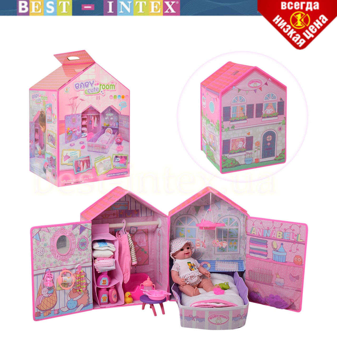 Ігровий набір для дівчинки 60180EP пупс з будинком та аксесуарами