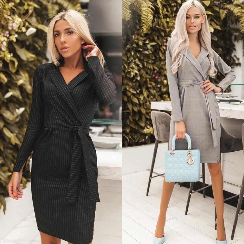 Платье женское на запах, повседневное, деловое, офисное, длинный рукав, в полоску, черное, серое
