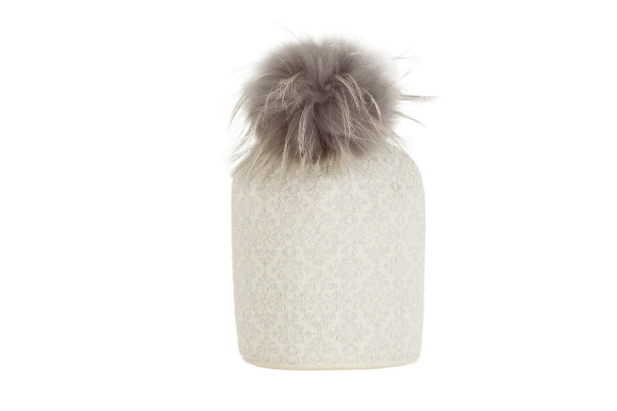 Зимняя шапка для девочки с натуральным помпоном GIAMO  (52-56)  1BSF