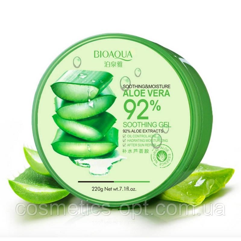 Многофункциональный гель алое Bioaqua Aloe Vera Soothing Gel 92% Aloe Extracts Soothing&Moisture, 220 г