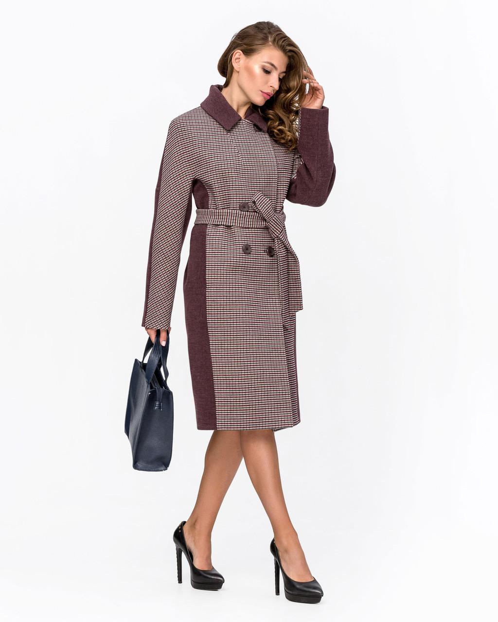 Женское демисезонное двубортное пальто - М 1340
