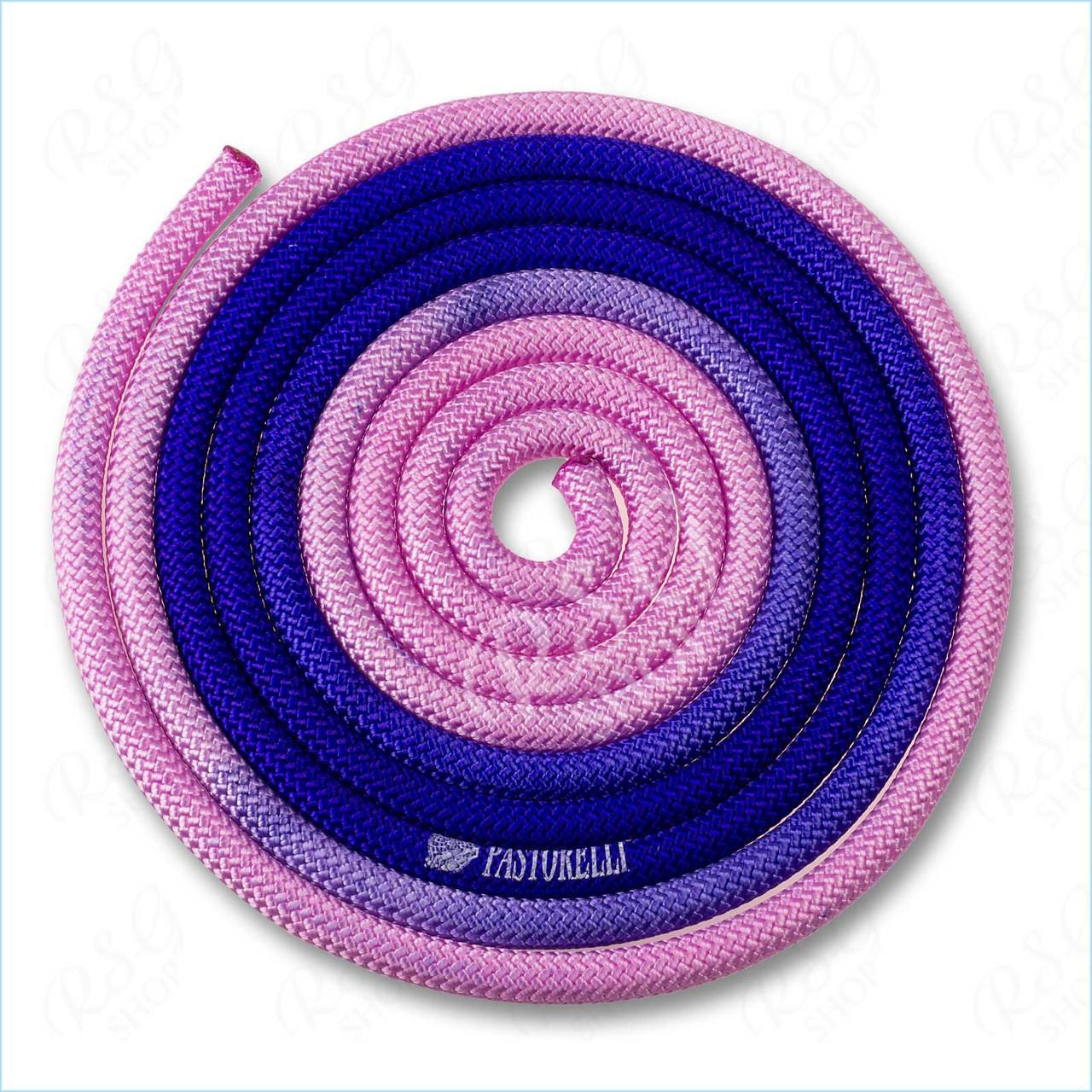 Скакалка Pastorelli New Orleans 3м полиэстер 04260 розовый-сиреневый-синий FIG