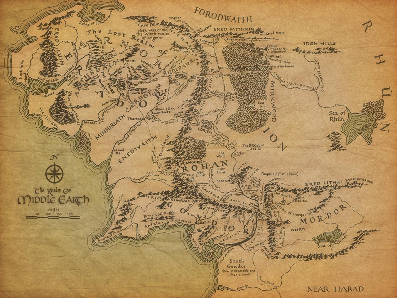Карта Средиземья. Властелин Колец