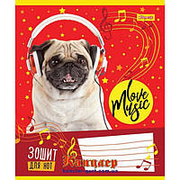 Тетрадь для нот 1 Вересня А5 763312 Music pets 12 листов