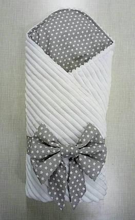 Демисезонный плюшевый конверт на выписку белый минки страйп, фото 2