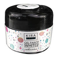 Гель-краска Kira Nails No Wipe White, белая, 5 мл
