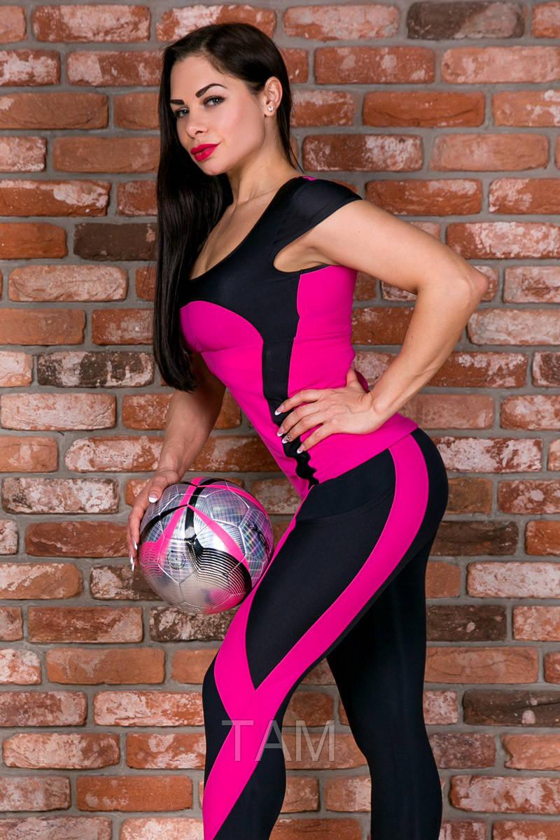 Футболка спортивная Totalfit Z3-C3/10 M Малиновый, черный