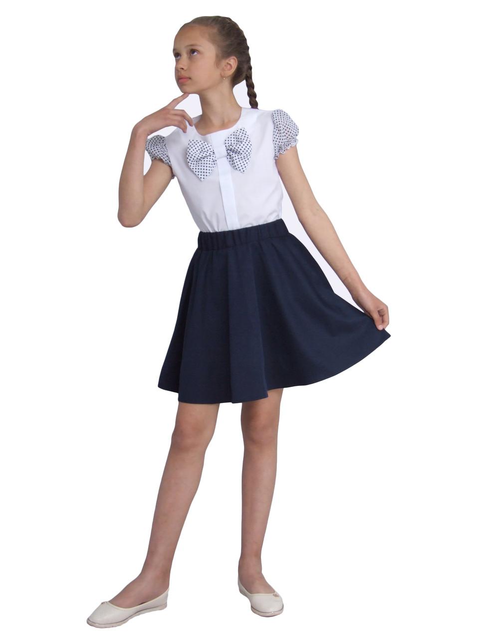 """Блузка для девочек белая с коротким рукавом  м 1137 рост 122 128 134 140 146 152 и 158 тм """"Попелюшка"""