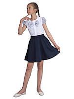 """Блузка для девочек белая с коротким рукавом  м 1137 рост 122 128 134 140 146 152 и 158 тм """"Попелюшка, фото 1"""