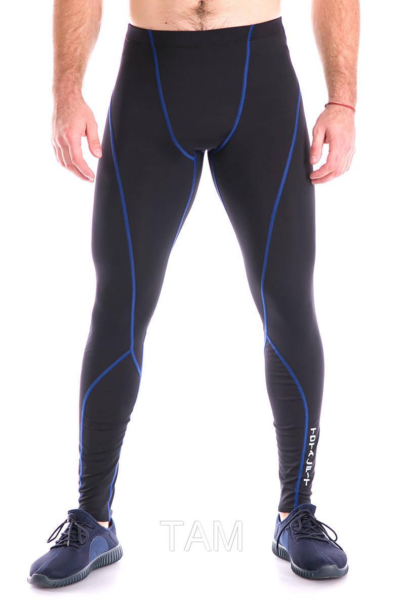 Тайтсы мужские с синей строчкой Totalfit G7  XXL Черный