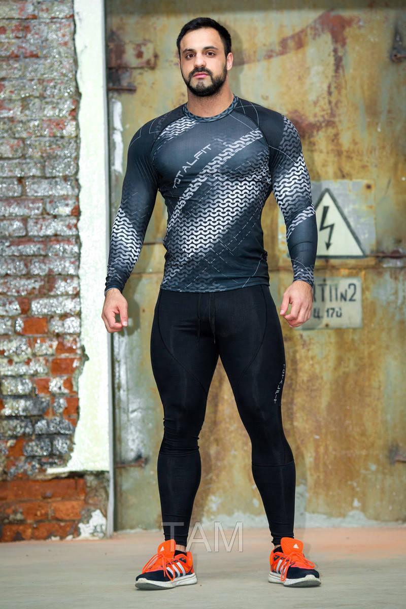 Рашгард мужской с длинным рукавом Totalfit RM313 S Серый с черным
