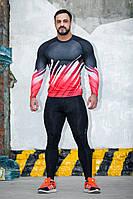 Рашгард мужской с длинным рукавом Totalfit RM317 XS Красный с черным