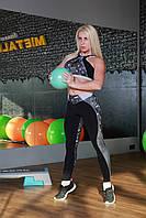 Леггинсы спортивные Totalfit S-35 M Черный с серым, фото 1