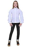 """Блузка для девочек белая с рукавом  м 1129  рост 122 128 134 140 146 152 158 164 и 170 тм """"Попелюшка, фото 1"""